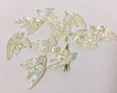 Vintage Plastic Swallow Beads - Pearlized Irridescent Flying Birds - 10 Matching Vintage Beads