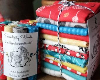 Happy Scrappy 12 pc Stash Builder Bundle, Red, Blue & Sunshine, Fat Quarter, Fat 8th or even Fat 16th!