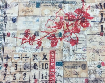 Tim Holtz Fabric by the Yard - Correspondence - Special Delivery in Neutral - Quilter's Cotton
