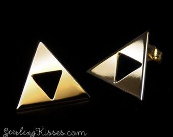 Zelda Triforce Earrings in 14kt Yellow Gold