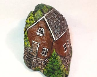 CABIN in the WOODS  hand painted rock art, a little house in the trees, for home or garden decor