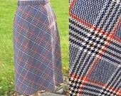 Intern Mod 60s Navy Plaid Skirt 32 Waist
