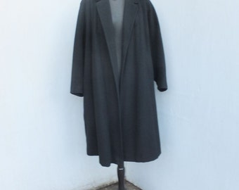 Vintage 1950s Swing Coat, EINIGER, Hand Tailored Pure Cashmere Coat, Black Full Length Swing Coat, Open Front