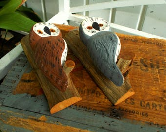 Hand Painted Pair Wood White Faced Grey And Brown Owls / Tree Limbs Pair Of Owls Home Decor