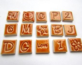 15 mosaic letters,numbers, shape tiles, handmade ceramic honey brown
