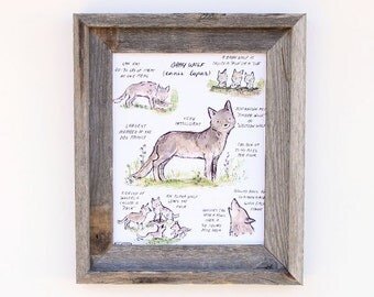 Children's Art  -- Woodland Guide Gray Wolf -- Archival Art Print