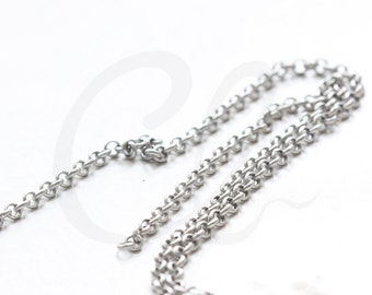 3 Feet Matte Rhodium Plated Chains-Rolo 3mm (420c04)