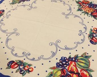 Vintage Fruit Tablecloth/ Topper
