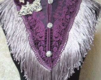 Holiday Sale 30% Off COLLAR Victorian Fringe Whimsical Shawl Satement Necklace Rhinestones Purple