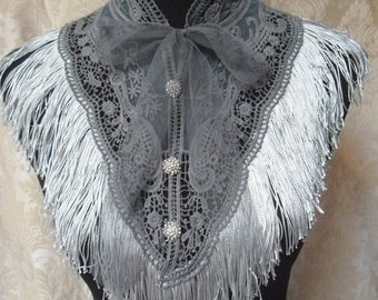 30% OFF Spring Cleaning COLLAR Whimsical  Shawl Cover up Victorian Glam Girl Costume Piece Boho  Roamntic - Grays
