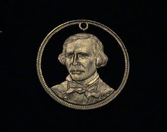 Kit Carson - cut coin pendant - from 1970 Franklin Mint set RUGGED AMERICANS