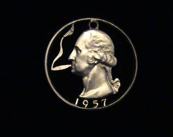 US - George Washington Puffing a Doobie - cut coin pendant - SILVER - 1957