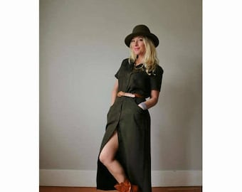 25% OFF SALE 1990s Army Green Day Dress  /// Small to Medium