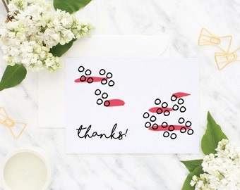 Bright Watermelon Pink Paint Brush Thank You Cards