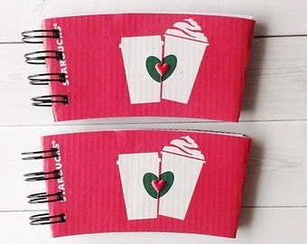 STARBUCKS Valentine Notebook made out of Coffee Sleeves-set of 2