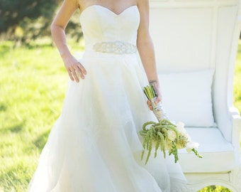 lace and organza strapless wedding gown