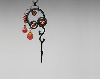 Steampunk Pendant with Astral Pink Swarovski Crystals, Swarovski Necklace, Bridal Jewellry, Statement Jewelry, Bridal Jewelry, Urania v8
