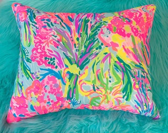 New Pillow made with Lilly Pulitzer Multi Fan Sea Pants fabric