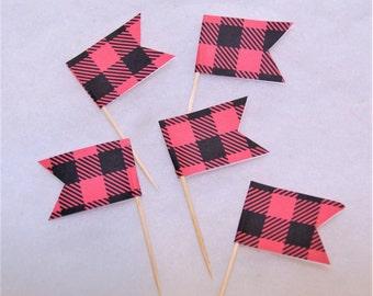 NEW Buffalo Check Cupcake Topper Flags - set of 12 - Lumberjack Birthday Party, Lumberjane, Buffalo Check party, plaid party