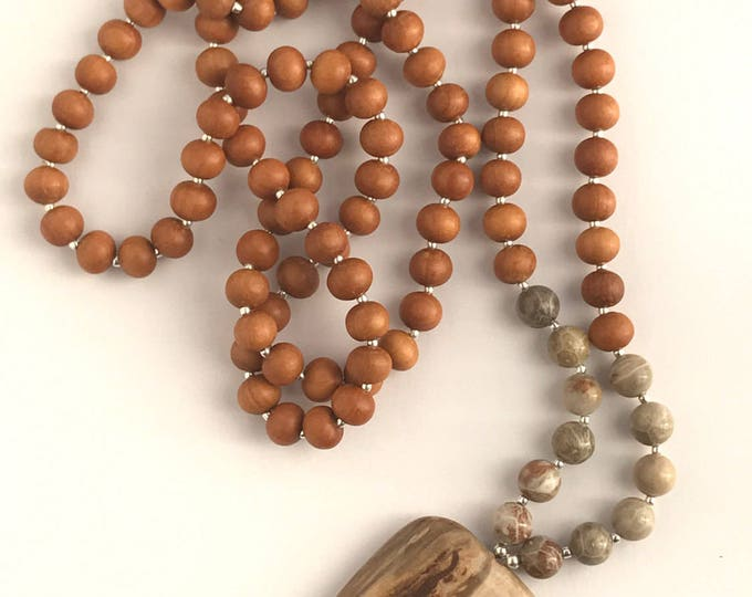 petrified wood & coral traditional 108 bead mala prayer necklace, sandalwood necklace, sandalwood mala necklace, focal stone necklace, long