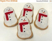 BLACK FRIDAY Felt food Christmas Snowman Cookies Set Of 4 Great stocking stuffers. Felt food  Play food Pretend food Perfect for play kitche
