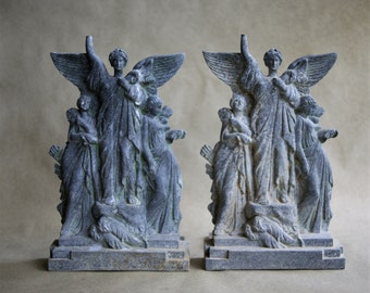 Antique Scribner Bookends Extremely Rare Titled Music Triumphant based on Sculpture by P Manfredi