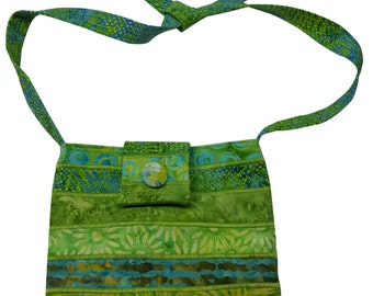 Batik Purse in Bright Green with Adjustable Straps