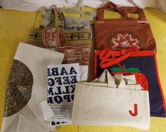 Lot of 7 totes and purse/bags, variety of color style size print applique embroidery