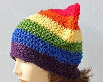 Gay Pride Rainbow Pussy Hat,  Custom Chose Pride Colors, Kitty Hat