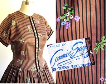 26 Waist / Vintage 1950s Dress / Brown Cotton Print/ 50s Full Skirt Style,  Mad Men Rockabilly Hourglass Fit / Petite, Small size