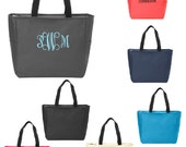 Personalized Tote Bag, Zipper Top with monogram, coral, turquoise, charcoal gray, hot pink, navy, black, cream