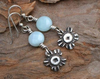 Fine Silver Metal Clay and Faceted Amazonite