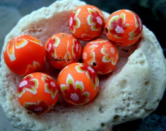 Sale yellow orange brown white Floral Polymer Clay Beads Round  beads 10mm-Fancy handmade Floral beads- white oink blue colors