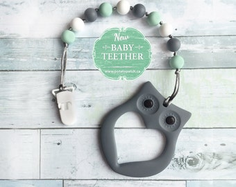 Free Shipping in Canada - Silicone Teething Pacifier Clip with Owl Teether - Soother Clip Baby Toy - Chew Toy - Mint/Grey/White
