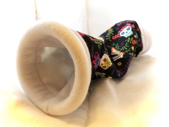 Sugar Skulls 5 Inch Large Cozy Tunnel for Your Favorite Little Hedgehog, Guinea Pig, Ferret, Small Pet