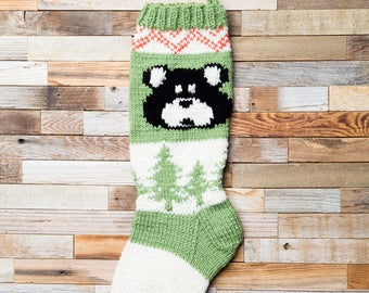 Bear Stocking, Christmas Stocking, Christmas Stocking Patterns, Christmas Stocking Design, Family Stockings, Christmas Knitting, Forest