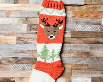 Deer Stocking, Christmas Stocking, Christmas Stocking Patterns, Christmas Stocking Design, Family Stockings, Christmas Knitting, Forest