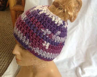 SALE - Purple Verigated Chunky Top knot/Messy Bun Hat