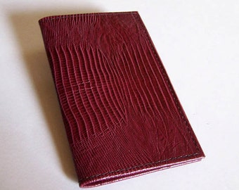 Leather Weekly Planner Cover With 2017 Calendar - Burgundy Lizardgrain Leather - IMMEDIATE SHIPPING