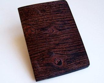 Leather Top Stub Checkbook Cover - Top-Grain Leather with Woodgrain Design - Leather Checkbook Holder