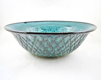 Pottery serving bowl, Handmade stoneware bowl, teal blue - In stock 13 SB C