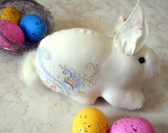 Bunny Hand Embroidered Hanky Baby Easter Basket Gift - Rabbit Stuffed Animal - Vintage Handmade Easter Decoration -Sweet Baby Shower Gift
