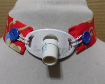Red trach tie -monkeys with blue  buttons - custom neck size