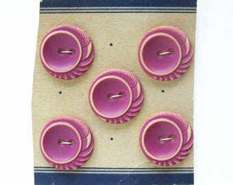 PINK and Ivory Vintage BUTTONS - Carved Details / Dress Buttons / Sweater Buttons / Set of 5 /