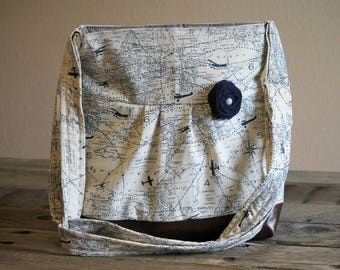 Diaper Bag, Large Messenger Bag, Faux Leather Bag, Navy Map Cross Body Purse, Crossbody Handbag, Large Purse, Large Floral Handbag