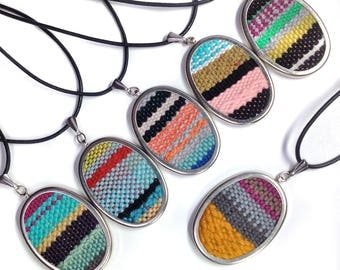 SALE Handwoven Jewelry for Her | Oval Pendant | Woven Art | Colorful Striped Macrame Necklace | Tiny Tapestry | Womens Fashion | A110