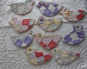 VINTAGE QUILT DUCKLINGS For Easter or for Appliques Free Shipping