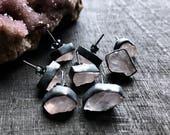 Raw rose quartz earrings | crystal quartz studs | Rose quartz stud earrings | pink quartz earrings | rose quartz crystal earrings