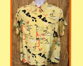 Vintage 1950s rayon Hawaiian Island Shirt