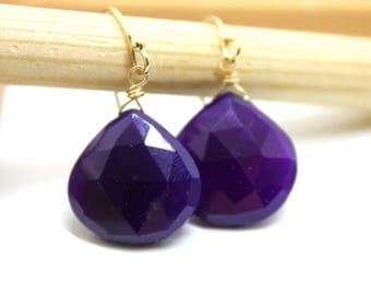 Purple Chalcedony, Amethyst color, Gem Earrings - Purple earrings - gold earrings - February Birthstone - clip on option